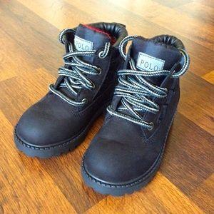 Polo Boys Boots Sz 7.5 Leather Black Nubuck